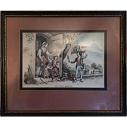 Framed Print of Young Boy Merchant Selling Figurines