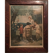 Print of Hand Colored Mezzotint of the Cottage Door by George Keating & Francis Wheatley