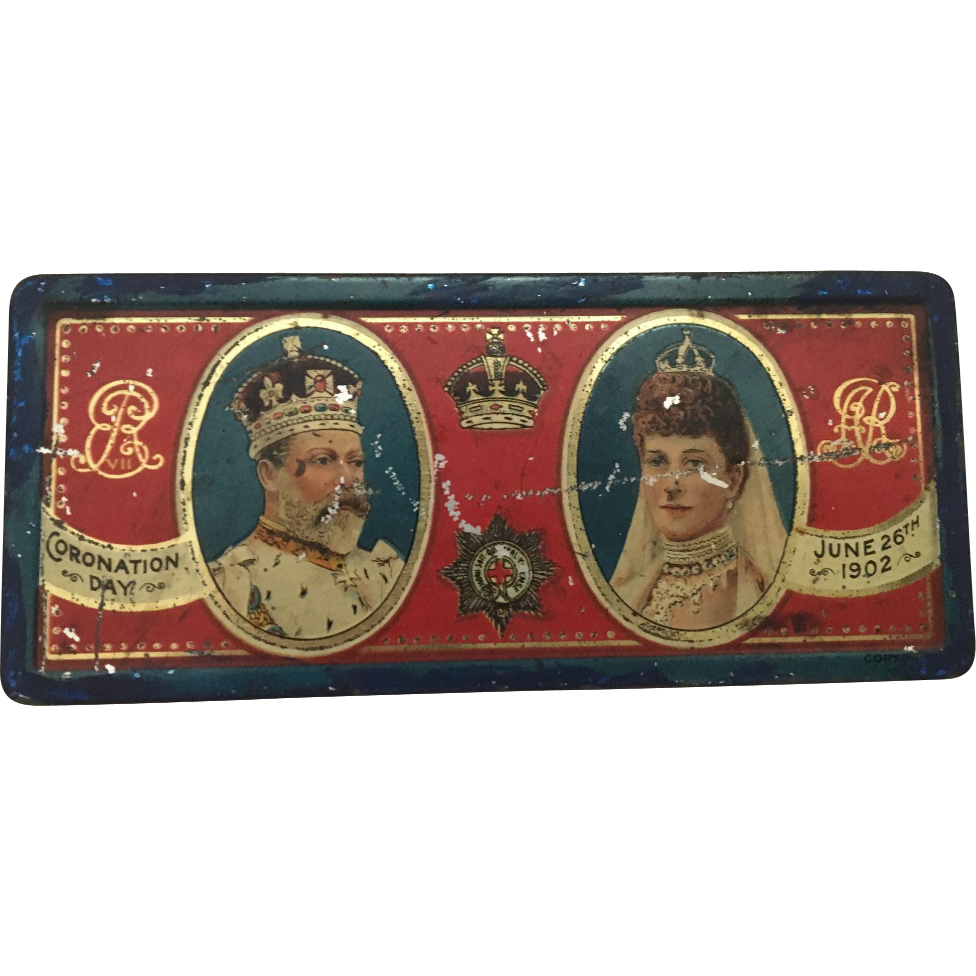 Kind Edward VII & Queen Alexandra Coronation Chocolate Tin 1902