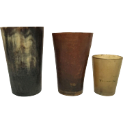 Three English or Scottish Horn Drinking Cups