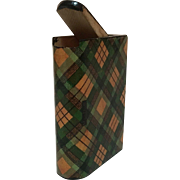 C 1900 Tartan Ware Match Holder