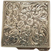 Sterling Square Pill Box with Ornate Floral Design