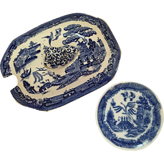 English Blue Willow Child's Dish & Octagon Shape Lid  C, 1860-1890