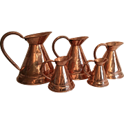 Victorian English Copper Jug Pitcher Measuring Set of Five, C. 1860