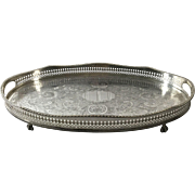English Gallery Tray Silver Plated on Copper