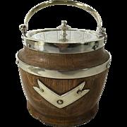 Vintage English Oak Biscuit Barrel / Ice Bucket