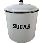 Vintage English Enamelware Sugar Kitchen Canister