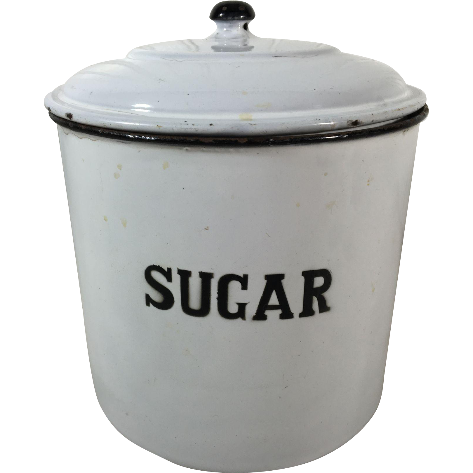 Vintage English Enamelware Sugar Kitchen Canister