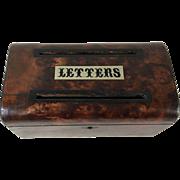 Late Victorian Burr Mahogany Letter Box