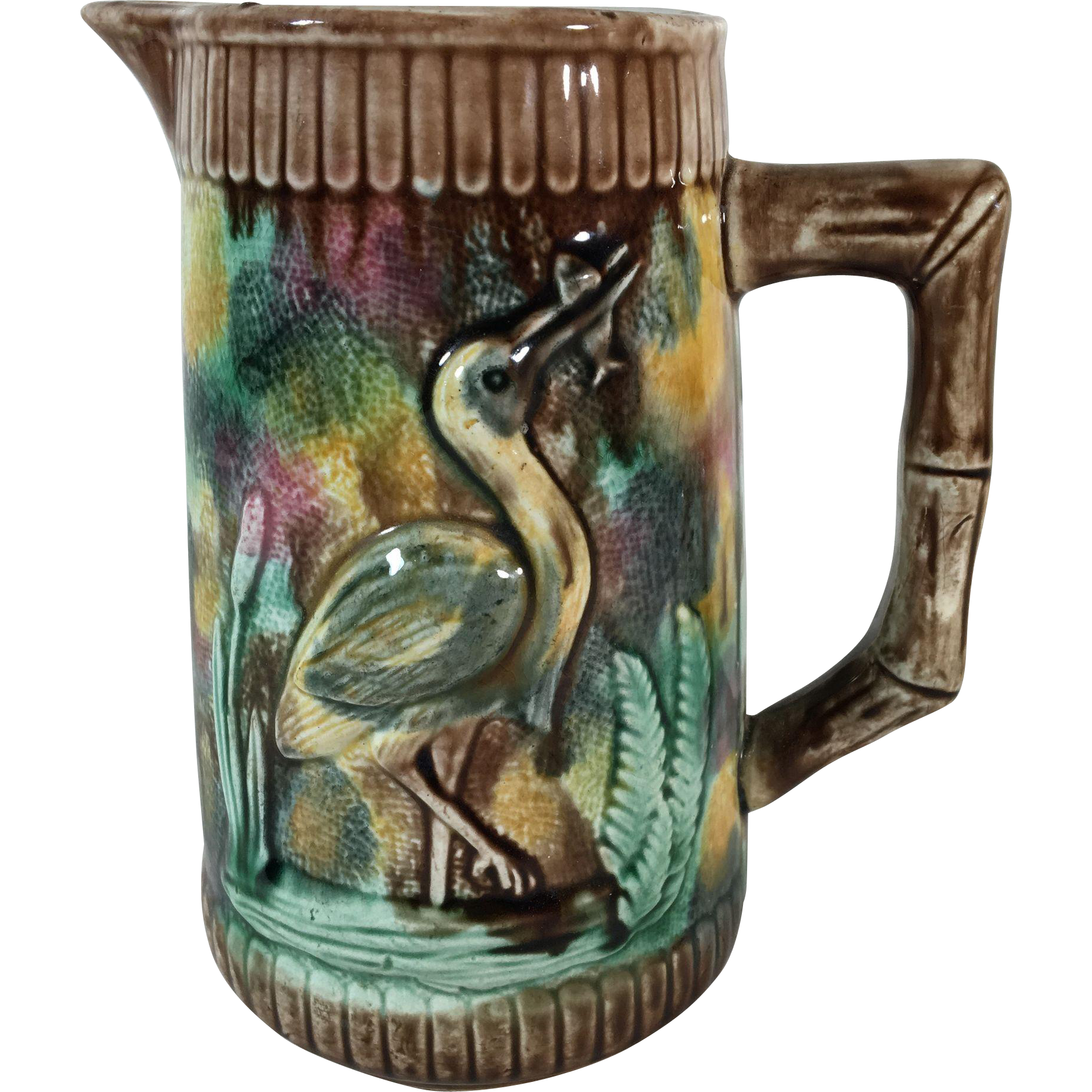 Majolica Pitcher 'Stork-in-the-Marsh'