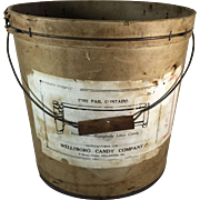 Vintage Pressed Cardboard Candy Bucket, Wellsboro Candy Company