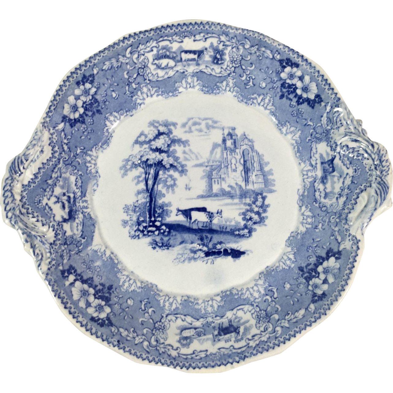 English Blue and White Transfer Ware Plate, c.1840