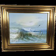 Vintage English Oil on Canvas Seascape Signed J. Thompson