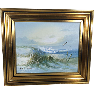 Vintage English Oil on Canvas Seascape Signed J. Thompson