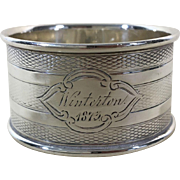 1873 English Sterling Silver Napkin Ring Hallmarked Birmingham, 1873