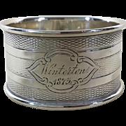 1873 English Sterling Silver Napkin Ring Hallmarked Birmingham, 1873