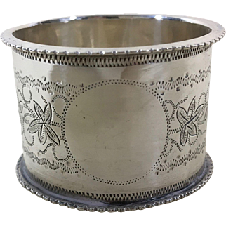 C. 1880 English Sterling Silver Napkin Ring  with Queen Victoria Duty Mark