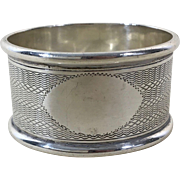 English Sterling Silver Napkin Ring Hallmarked 1910