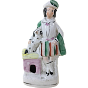 C.1860 English Victorian Staffordshire figurine of a 'Boy and His Dog'