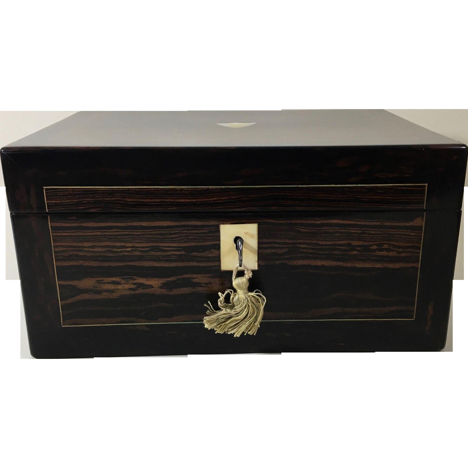 English Victorian Mahogany Jewelry Box, c.1880