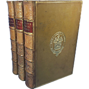 Critical and Historical Essays in Three Leather Bound Volumes by Lord Macaulay, 1873