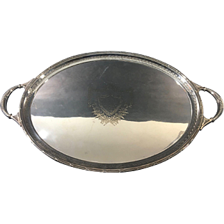 Large English  Silver Plate Antique Salver  c. 1915
