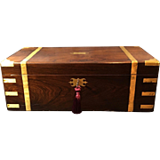 English Figured Flame Mahogany Writing Box with Brass Corners and Straps, c. 1850
