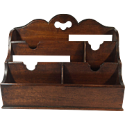 English Vintage Mahogany Letter and Stationary Holder