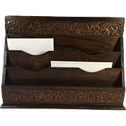 English Carved Oak Stationary and Letter Holder, Holly & Ivy