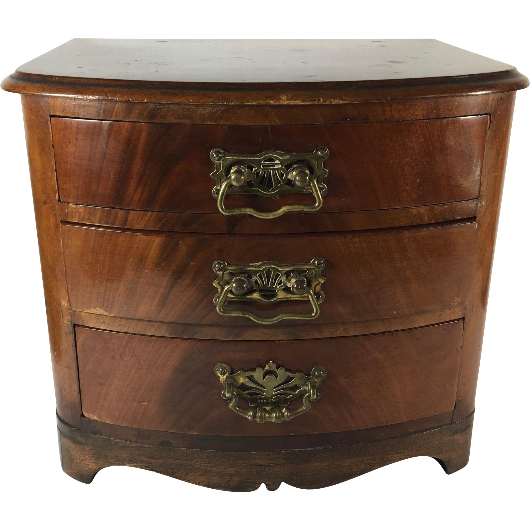Flame Mahogany English Miniature Chest of Drawers, c. 1893