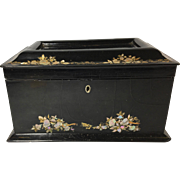 Mid-19th Century Papier-Mâché Tea Caddy, Casket Shape