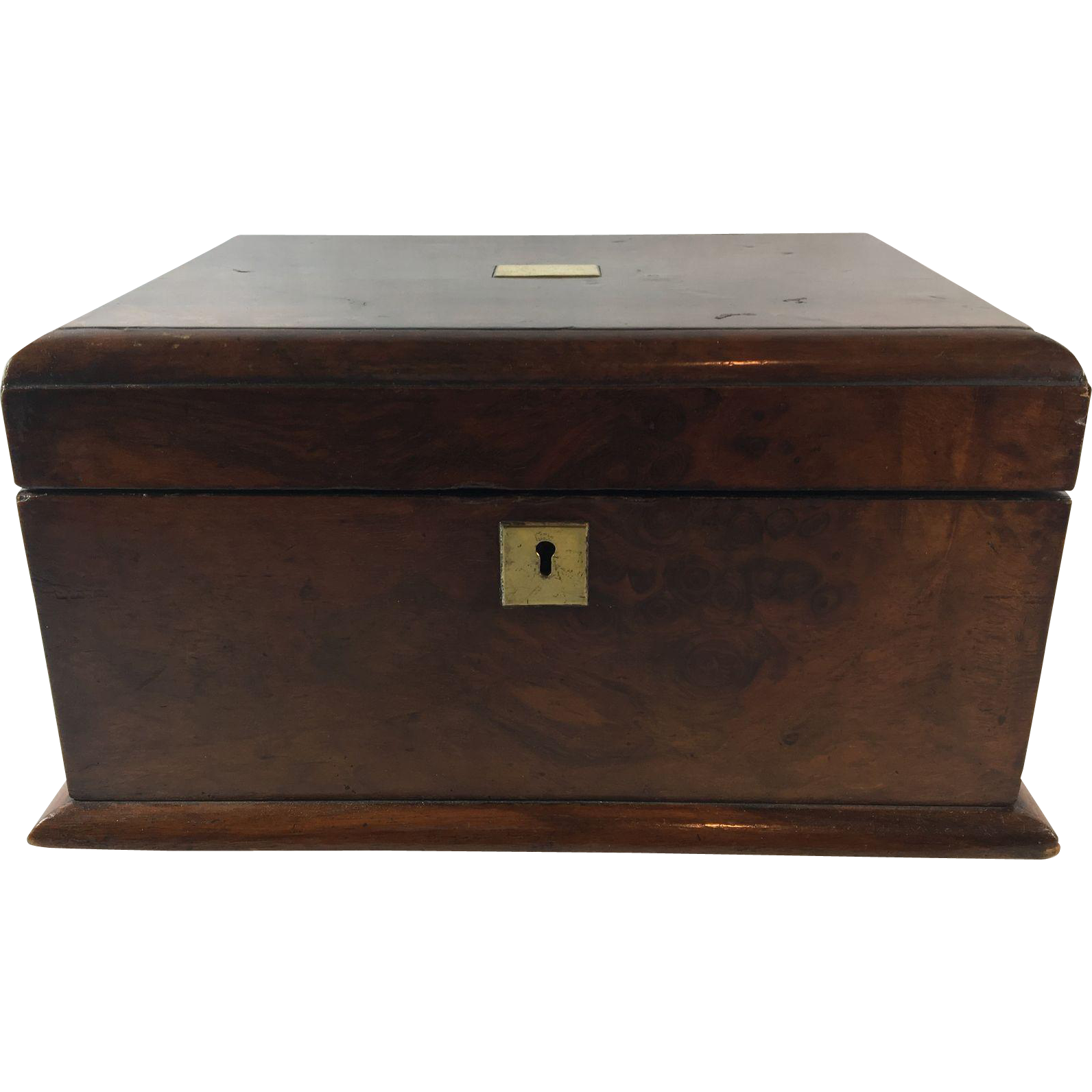 English Antique Burl Mahogany Ladies Jewelry Box, c. 1880