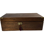 19th Century English Oak Writing Box Brass Corners