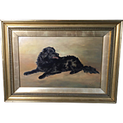 English Oil on Canvas Spaniel Dog, Signed E.H. Palmer