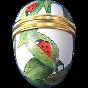 Egg Shaped English Enamelware Trinket Box