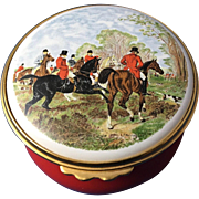 English Enamel Box of 'Fox Hunt Equestrian'