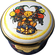 English Enamel Trinket Box, 'Happy Birthday""