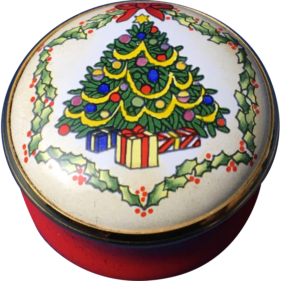 English Enamel Trinket Box, 'Christmas Tree'