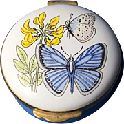 Crummles & Co Vintage Enamel Trinket Box , 'Butterflies and Flowers'