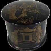 Cylindrical Black Papier-mâché/Lacquer Box  C. 1900