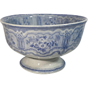 C.1850 Blue and White Transfer Ware Compote