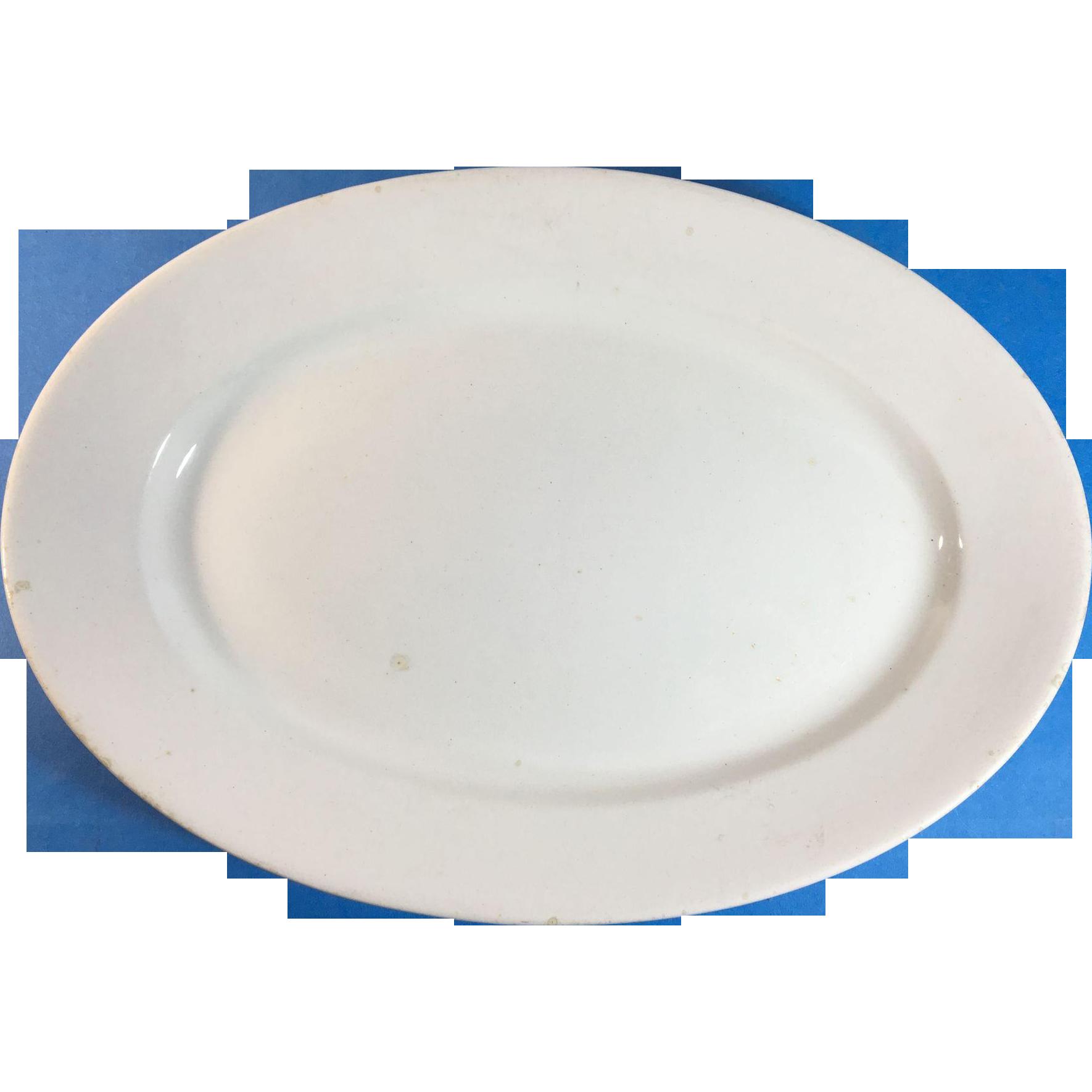 English White Ironstone Platter. C. 1851, Anthony Shaw & Sons
