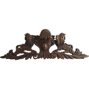 French Carved Wood Pediment with Naïve Lions