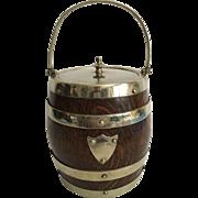 English Vintage Oak Biscuit Barrel with Porcelain Liner