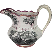 1840 English Lusterware Transfer Ware Jug