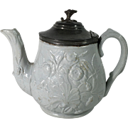 C.1860 English Tea Pot, Moulded Design, Pewter Lid