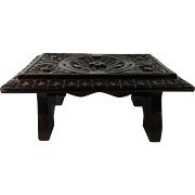 19th Century English Carved Wood Step Stool