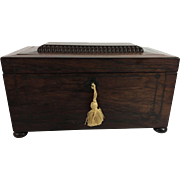 English Sarcophagus-Shaped Mahogany Tea Caddy, c. 1860
