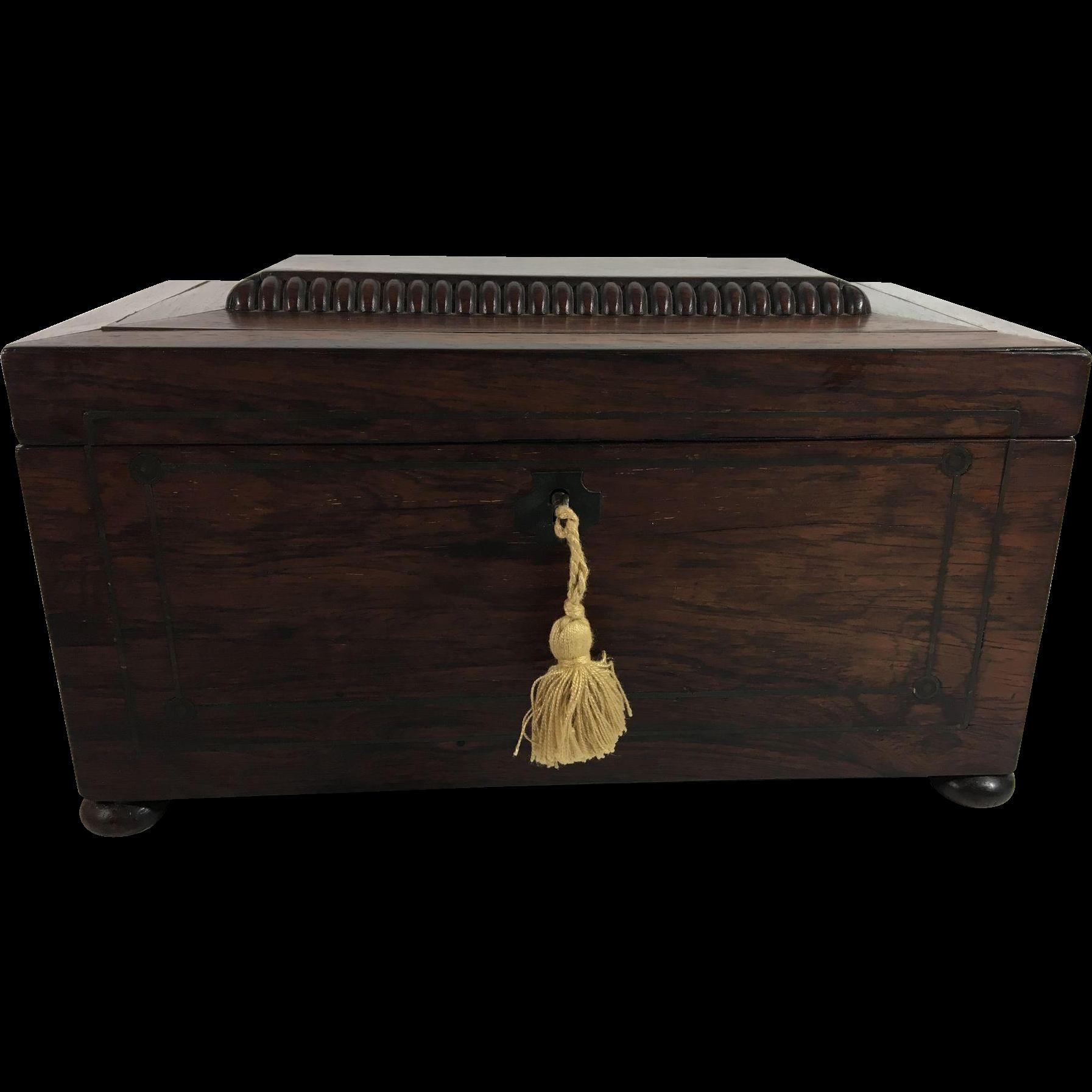 English Sarcophagus-Shaped Mahogany Tea Caddy, c. 1860