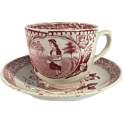 1880 English Cup and Saucer, 'Miss May'